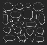 Hand drawn set of speech bubbles and arrows Stock Photos