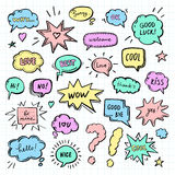Hand drawn set of speech bubbles with dialog words Royalty Free Stock Images
