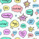 Hand drawn set of speech bubbles with dialog words Royalty Free Stock Photography