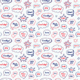 Hand drawn set of speech bubbles with dialog words Royalty Free Stock Photos