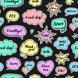 Hand drawn set of speech bubbles with dialog words Stock Image