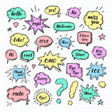 Hand drawn set of speech bubbles with dialog words Royalty Free Stock Image