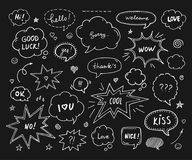 Hand drawn set of speech bubbles with dialog words Stock Photos