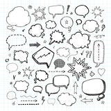 Hand drawn set of speech bubbles. Handcraft Stock Image