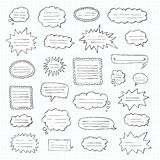 Hand drawn set of speech bubbles. Tetrad cell. Notebook in a cage royalty free stock photo
