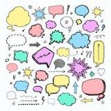 Hand drawn set of speech bubbles Stock Image