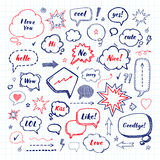 Hand drawn set of speech bubbles. Vector illustration Royalty Free Stock Photography