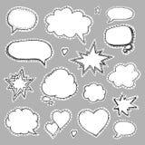 Hand drawn set of speech bubbles Stock Photos
