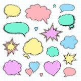 Hand drawn set of speech bubbles Stock Photography