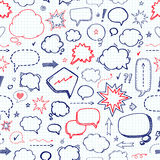 Hand drawn set of speech bubbles. Vector seamless pattern Royalty Free Stock Image