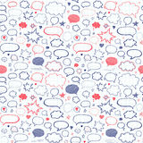 Hand drawn set of speech bubbles. Vector seamless pattern Stock Images
