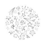 Hand Drawn Set of Stars Arranged in a Circle. Children Drawings of Doodle Stars. Sketch Style. Stock Photo