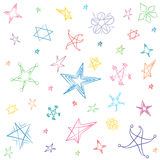 Hand Drawn Set of Stars. Children Drawings of Funny Stars. Doodle Style. Vector Illustration Stock Photography