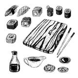 Hand drawn set of sushi and rolls. Vector sketch. Hand drawn set of sushi and rolls. Soy sauce wasabi pickled ginger chopsticks board. Sketches isolated. Vintage royalty free illustration