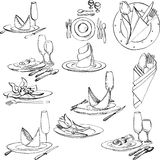 Hand drawn set of tableware Royalty Free Stock Images