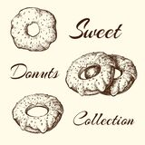 Hand drawn set of tasty sweet donuts isolated. Sketch in vintage style. engraved pastry illustration. Sweet desserts