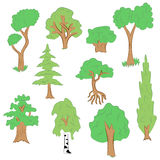 Hand Drawn Set of Trees. Doodle Drawings of Green Fir, Cypress, Birch, Oak in Flat Style Royalty Free Stock Photo