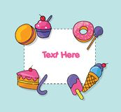 Vector hand drawn set of trendy sweets treats Illustration sticker blank text. Hand drawn set of trendy sweets treats Illustration sticker blank text vector illustration