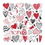 Hand drawn set of tribal hearts Stock Photography