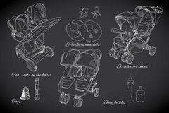 Hand drawn set for twins. Graphic sketch strollers, car seats, b Royalty Free Stock Image