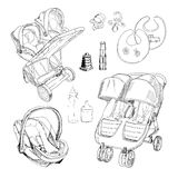 hand drawn set for twins. Graphic sketch strollers, car seats, Royalty Free Stock Image