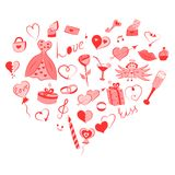 Hand Drawn Set of Valentine`s Day Symbols. Children`s Funny Doodle Drawings of Red Hearts, Gifts, Rings, Balloons Arranged in a. Shape of Heart. Vector royalty free illustration
