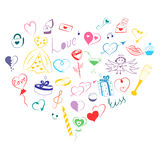 Hand Drawn Set of Valentine`s Day Symbols. Children`s Funny Doodle Drawings of Colorful Hearts, Gifts, Rings, Balloons stock illustration