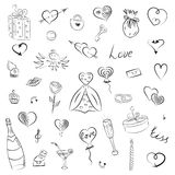 Hand Drawn Set of Valentine`s Day Symbols. Children`s Funny Doodle Drawings of Hearts, Gifts, Rings, Balloons. Sketch Style. royalty free illustration