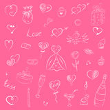 Hand Drawn Set of Valentine`s Day Symbols. Children`s Funny Doodle Drawings of Hearts, Gifts, Rings, Balloons. Sketch Style Royalty Free Stock Photography