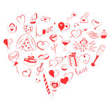 Hand Drawn Set of Valentine`s Day Symbols. Children`s Funny Doodle Drawings of Red Hearts, Gifts, Rings, Balloons Arranged in a sh Royalty Free Stock Image