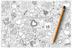 Valentine`s day vector doodle set. Hand drawn set of Valentine`s day vector doodles Stock Photography