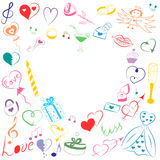Hand Drawn Set of Valentines Day Symbols. Children`s Funny Doodle Drawings of Colorful Hearts, Gifts, Rings, Balloons and Candle Stock Image