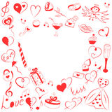 Hand Drawn Set of Valentines Day Symbols. Children`s Funny Doodle Drawings of Red Hearts, Gifts, Rings, Balloons and Candle. Stock Photo