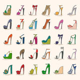 Hand drawn set of various types of female shoes with heels Stock Images