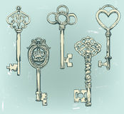Hand-drawn set of various vintage keys. Royalty Free Stock Photos