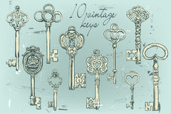 Hand-drawn set of various vintage keys. Royalty Free Stock Photo