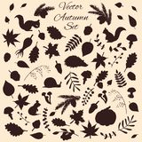 Hand drawn set of vector autumn elements and animals silhouettes Royalty Free Stock Image