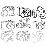 Hand Drawn Set of Vector Cameras Stock Photo