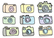 Hand Drawn Set of Vector Cameras Stock Photography