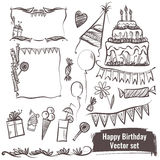 Hand drawn set of vector elements. Happy birthday. Stock Photos