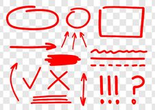 Hand drawn set of vector red marks, arrows, ingles, lines, amendments and corrections. Red marker line.  stock illustration