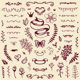 Hand-drawn set of vintage elements Royalty Free Stock Photography