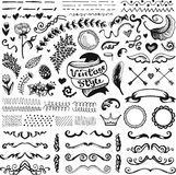 Hand-drawn set of vintage elements Royalty Free Stock Image