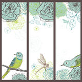 Hand drawn set of vintage  floral cards with  birds Royalty Free Stock Photos