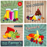 Hand drawn set of vintage fruit banners Stock Images