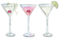 Hand drawn set of watercolor cocktails Casino Rose Kamikaze on w Royalty Free Stock Photography