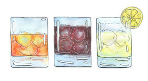 Hand drawn set of watercolor cocktails Godfather French Connecti Royalty Free Stock Images