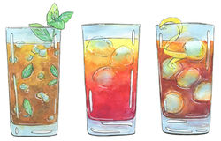 Hand drawn set of watercolor cocktails Long Island Iced Tea Sex vector illustration