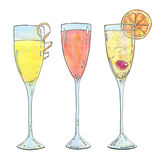 Hand drawn set of watercolor cocktails Mimosa Bellini Champagne Royalty Free Stock Photos
