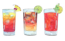 Hand drawn set of watercolor cocktails Planter`s Punch Dark N St Royalty Free Stock Photos